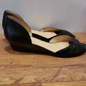Nine West Black Leather open toe Wedge Size 9.5M